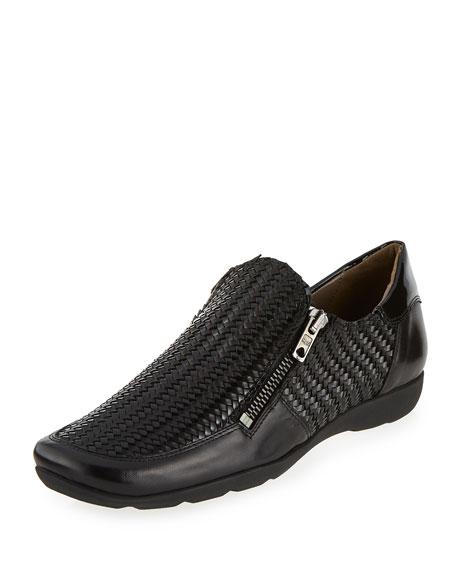 Sesto Meucci Ganice Woven Zip-Up Sneaker, Black