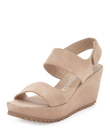 Pedro Garcia Fiona Suede Low-Wedge Sandal