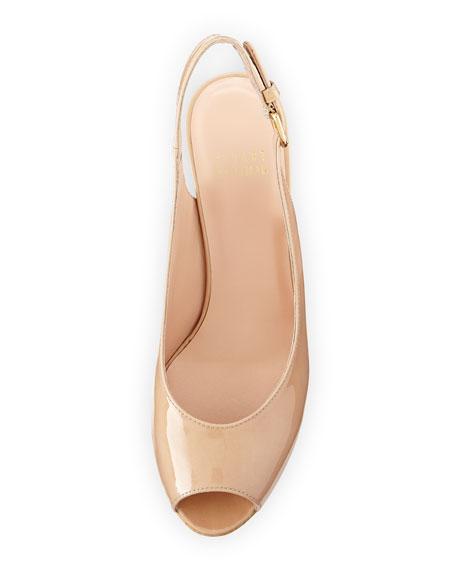 Jean Patent Peep-Toe Wedge Sandal, Beige