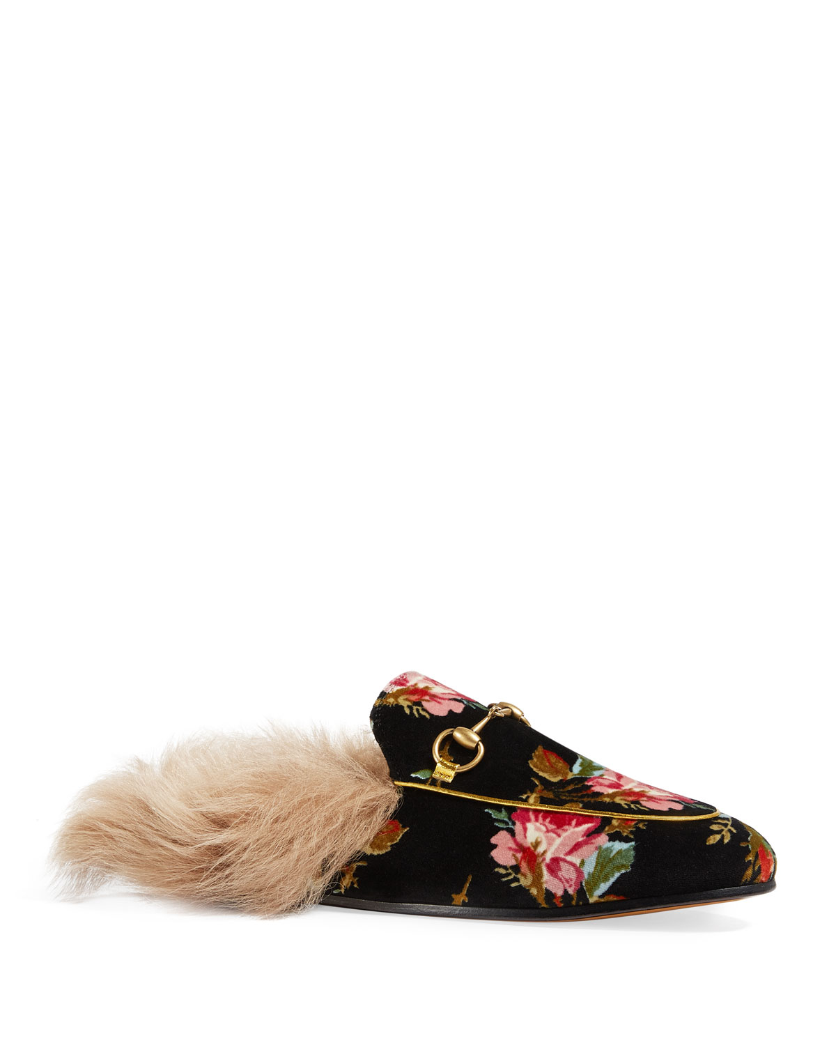 764bb76334a Quick Look. Gucci · Flat Princetown Floral Print Velvet Mule With Fur