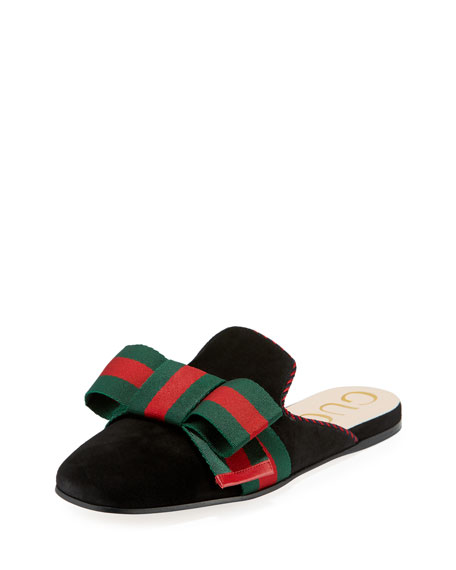 Gucci Suede Web Bow Flat Slide Mule