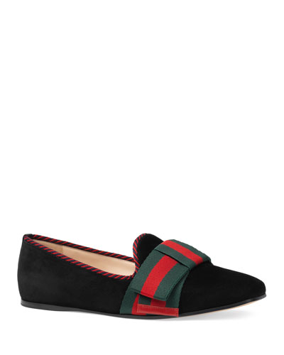 Flat Bow Suede Slipper