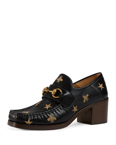 Gucci Embroidered leather Horsebit Loafer