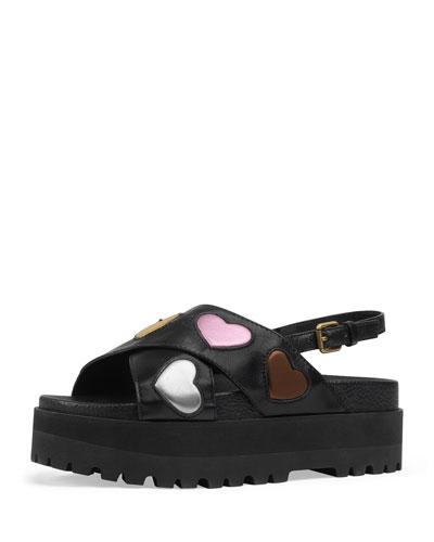 gucci slides black. sunrise platform leather sandal gucci slides black a