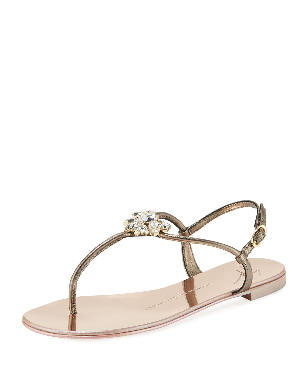 Giuseppe Zanotti Flat Embellished Metallic Leder Sandale ...   Neiman ... Sandale b297da