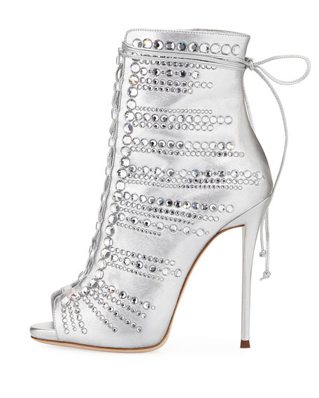 Embellished Metallic Leather Peep-Toe Bootie, Silver