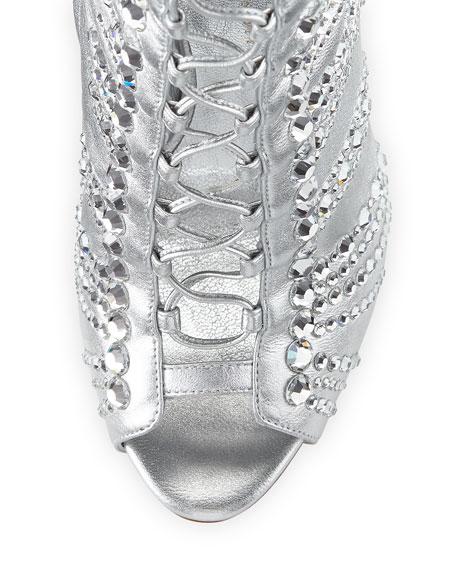Embellished Metallic Leather Peep-Toe Bootie, Silver