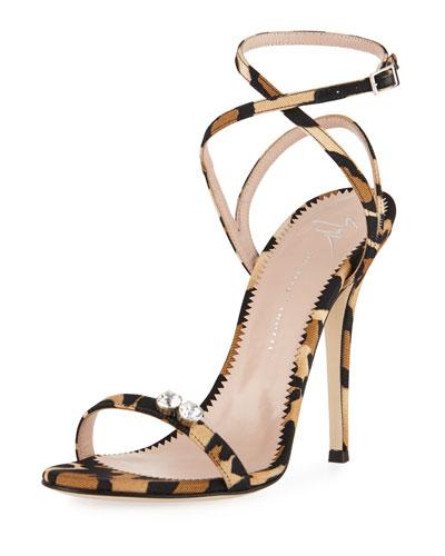 Leopard-Print Grosgrain Sandal