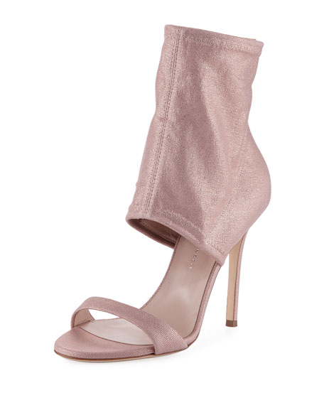 Metallic Stretch-Canvas Bootie, Light Pink