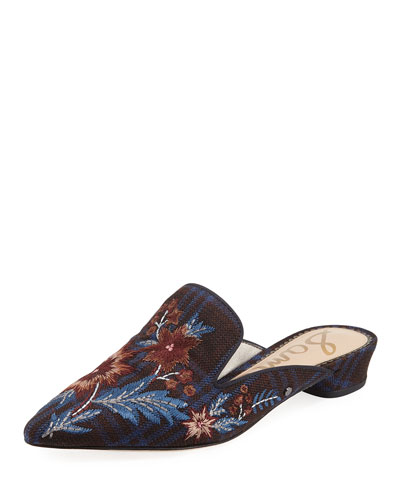 Aven Embroidered Plaid Mule Flat