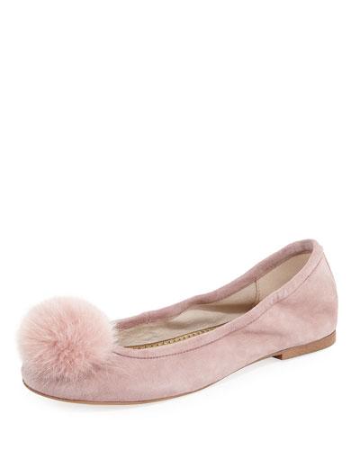 Farina Suede Pompom Ballerina Flat