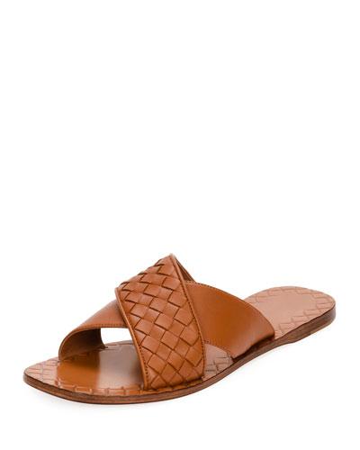Flat Crisscross Woven Slide Sandal