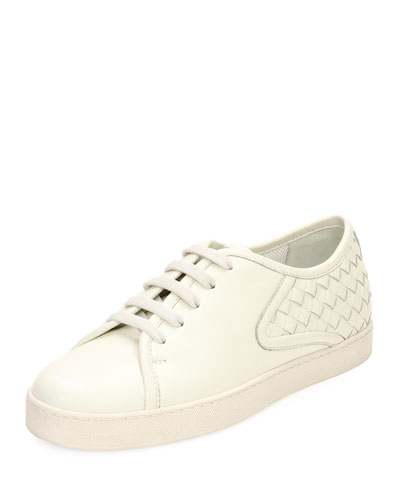 Lace-Up Woven Platform Low-Top Sneakers