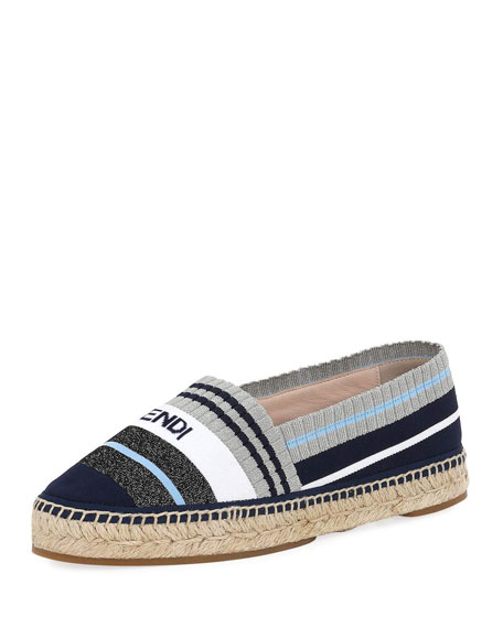 Stretch-Knit Metallic Espadrille, Dark Blue