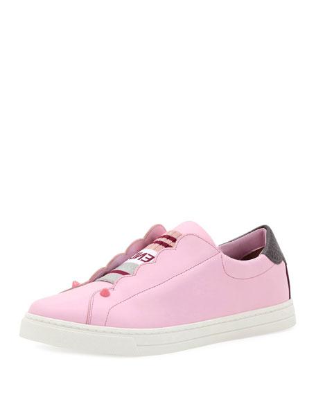 Fendi Knit Leather Slip-On Sneaker, Pink