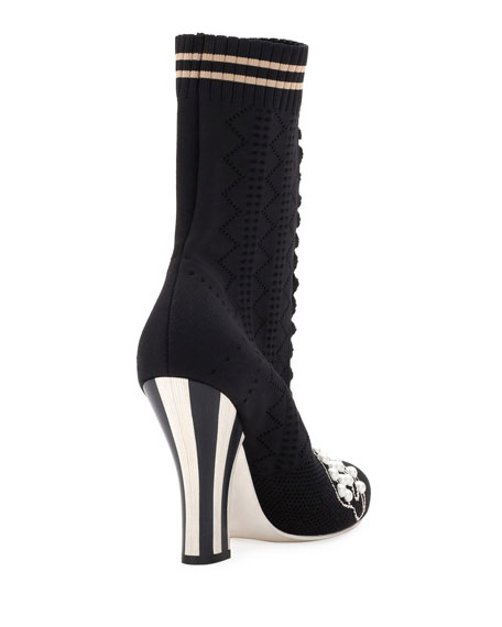Pearlescent Stretch-Knit Bootie, Black