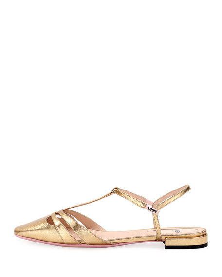 Metallic Leather Flat Pump