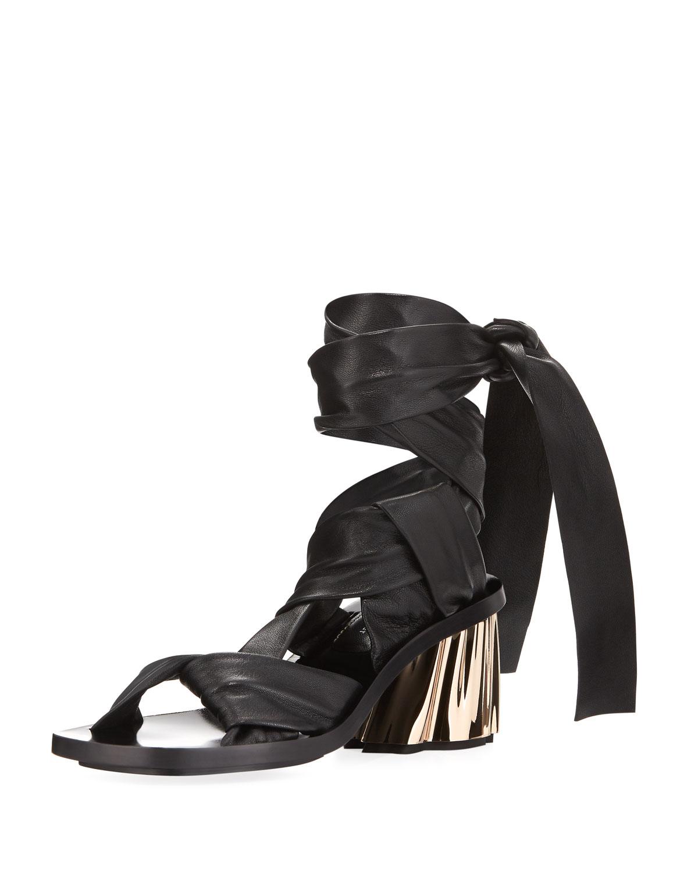 48ff8178c71 Proenza Schouler XMM Leather Ankle-Wrap Sandal