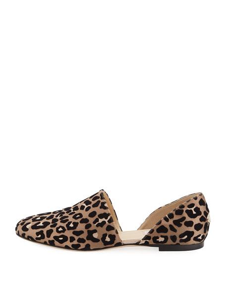 Globe Leopard-Print Satin d'Orsay Flat
