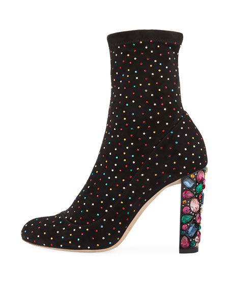 Maine Stretch Suede Crystal Embellished Booties