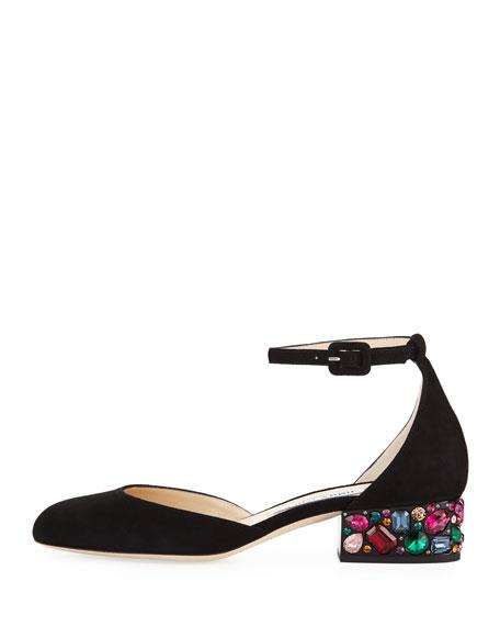 Marnie Suede Ankle-Strap Pump