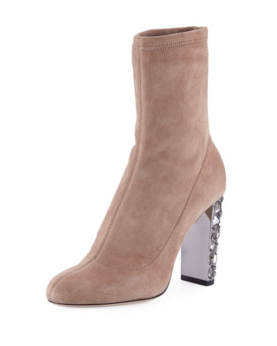 Maine Stretch Suede Bootie with Crystal Heel