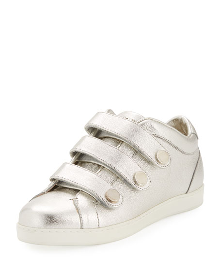 Jimmy Choo NY Metallic Leather Triple-Strap Sneaker