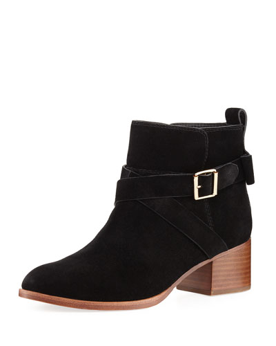polly suede crisscross strap bootie