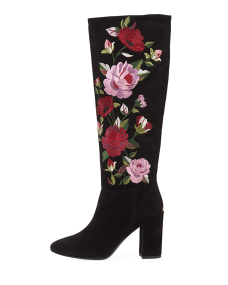 greenfield floral-embroidered knee-high boot