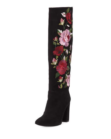 kate spade new york greenfield floral-embroidered knee-high boot