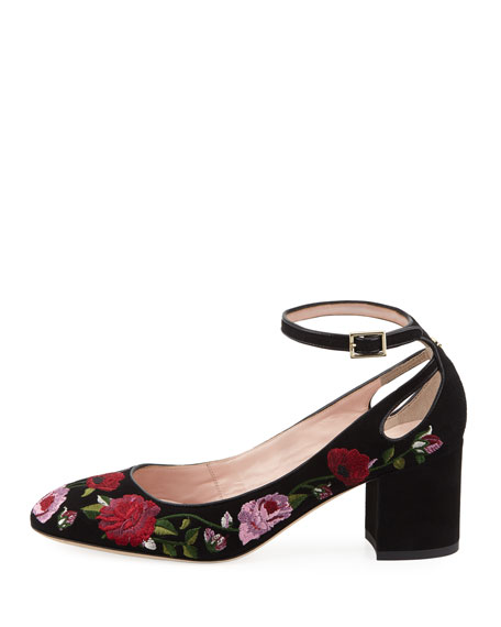 gable embroidered suede pump