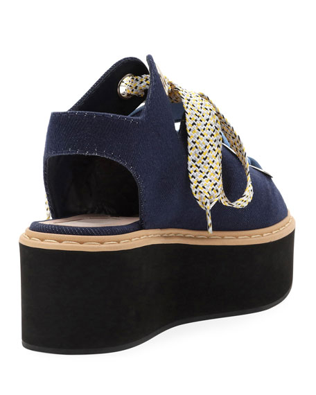 Denim Lace-Up Platform Sandal, Dark Blue