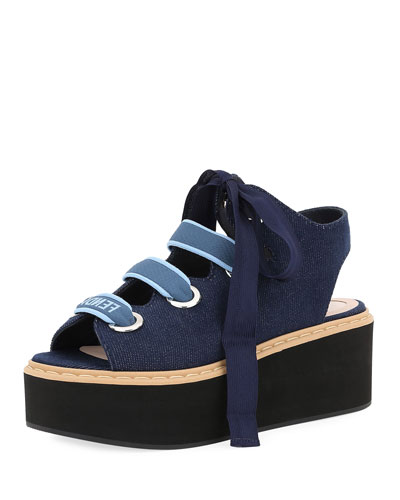 Denim Lace-Up Platform Sandal, Dark Blue