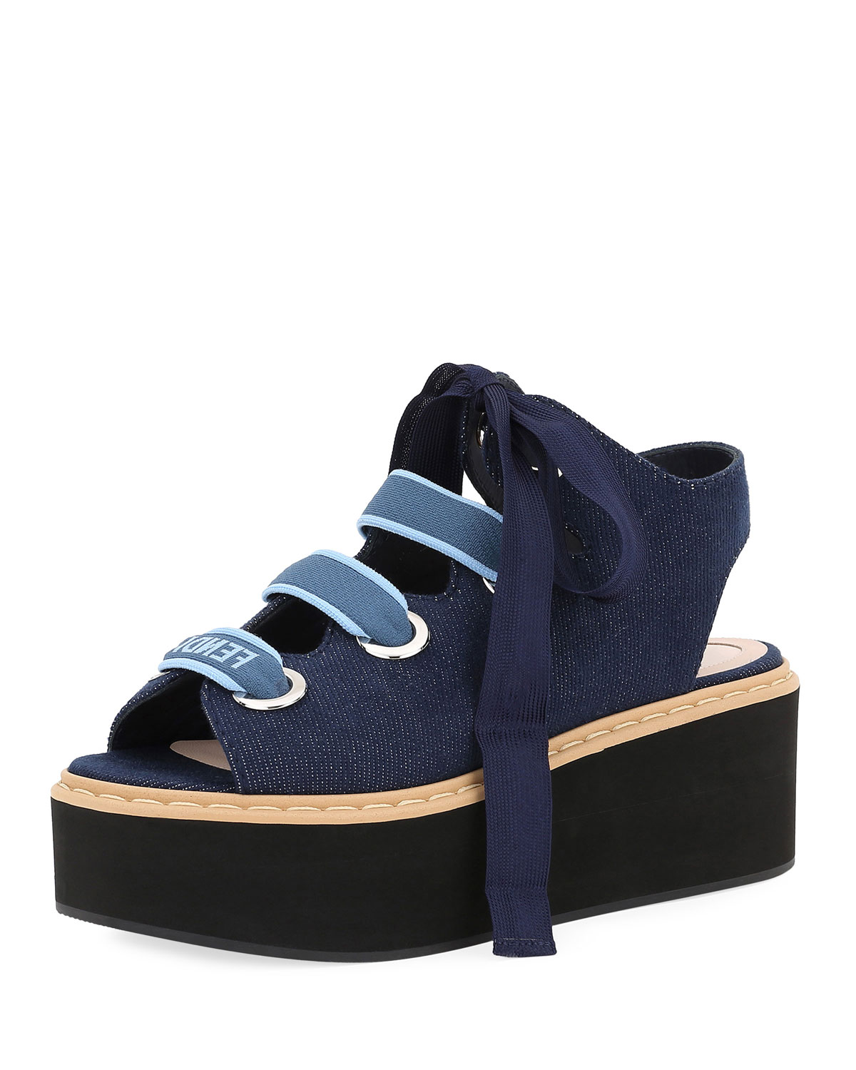 e449b0eab3977 Fendi Denim Lace-Up Platform Sandal