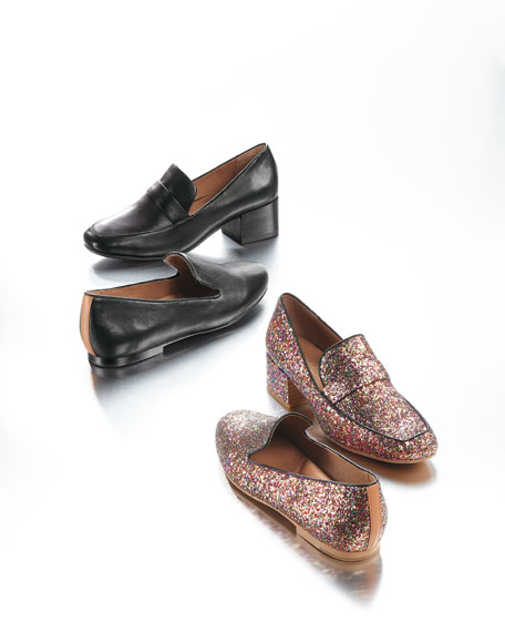 b841036bf72 Gentle Souls Eliott Low-Heel Glitter Leather Loafer