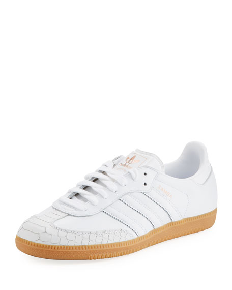 Adidas Samba Scale-Embossed Leather Platform Sneaker