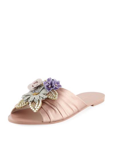 Lilico Glitter Ruched Satin Slide Sandal, Rose