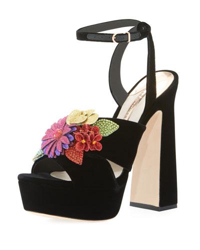 Lilico Floral Velvet Block-Heel Sandal