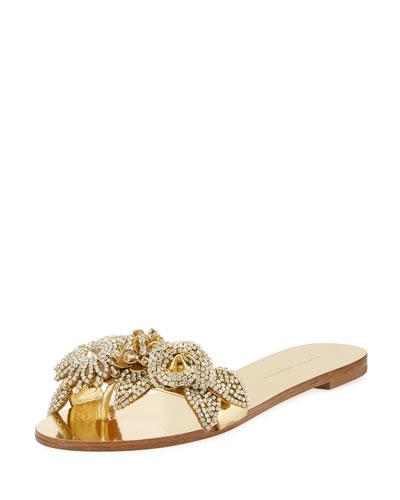 Lilico Crystal-Embellished Flat Slide Sandal