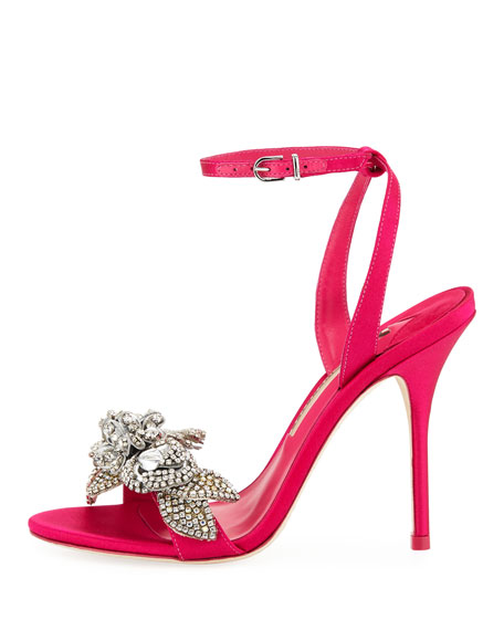 Lilico Crystal Satin Sandals, Bright Pink
