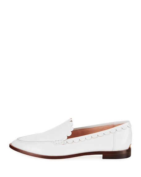 cape scallop-trim leather loafer