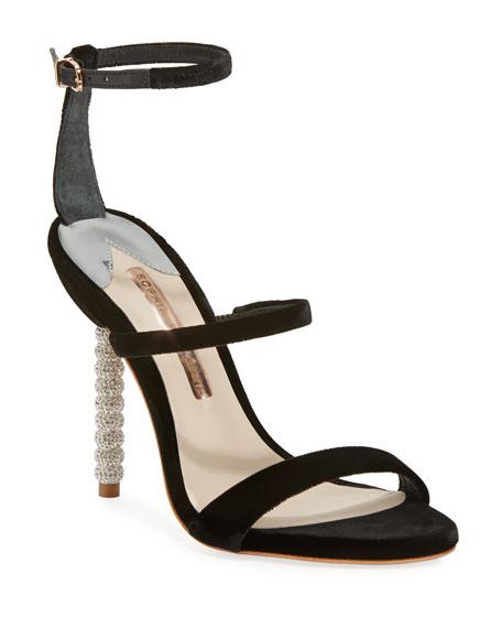 Sophia Webster Rosalind Velvet Strappy Crystal-Heel Sandal