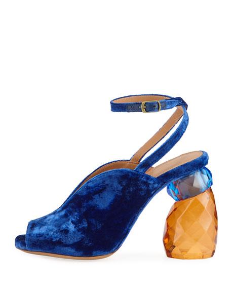 Velvet Resin-Heel Ankle-Wrap Pump