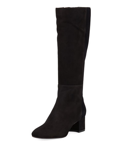 Julie Mixed Suede and Velvet Tall Boot