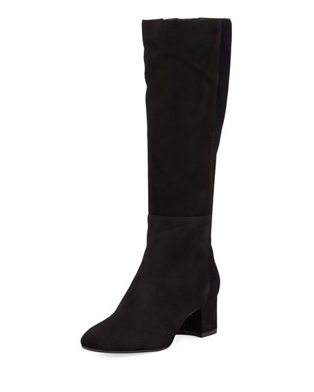 Aquatalia Julie Mixed Suede and Velvet Tall Boot vSaVr