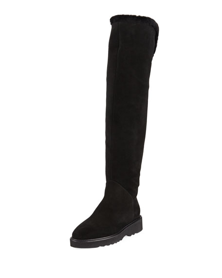Aquatalia Kiara Over-The-Knee Suede Boot with Shearling