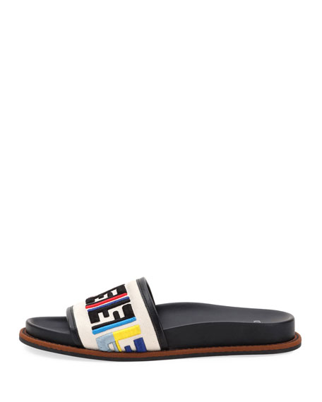 Fendi FF Logo Embroidered Flat Sandal, Multi