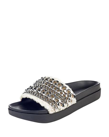 Kendall + Kylie Shiloh Chain-Trim Faux-Fur Flat Slide