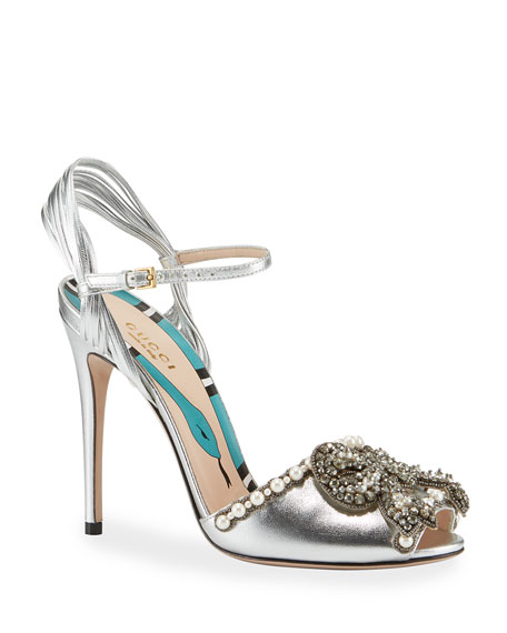 Gucci Allie Bow Metallic Sandal
