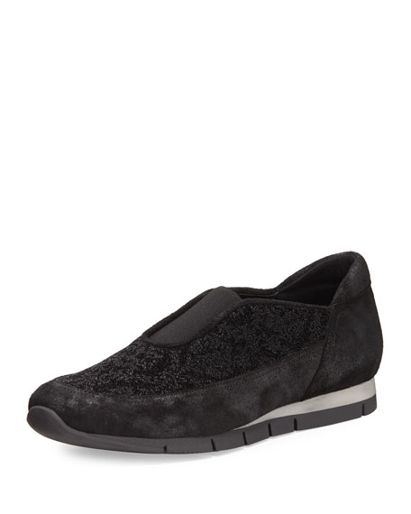 Celia Slip-On Suede Trainer, Black/Silver